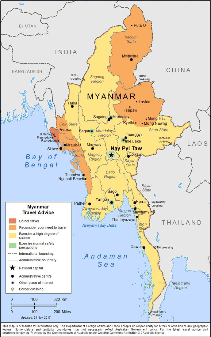 Myanmar Travel Advice by Australian Govt